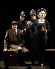Ted Deasy, Scott Parkinson, Eric Hissom and Claire Brownell in Seattle Repertory Theatre's production of THE 39 STEPS. (Photo by Craig Schwartz)