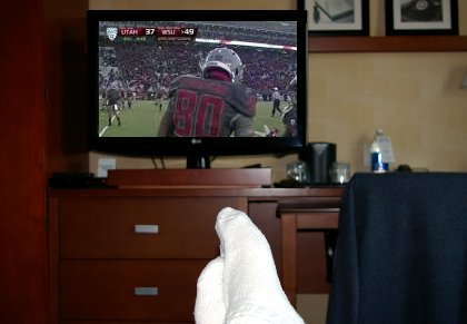 Watching the Cougars defeat Utah at the Marriott Courtyard Tacoma in Tacoma, Washington - image.