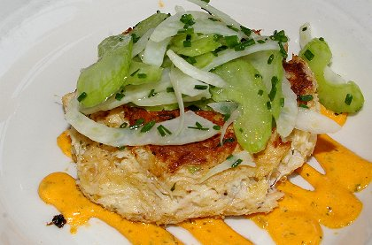 Dungeness crab cake from Salty's at Redondo in Redondo, Washington - image.
