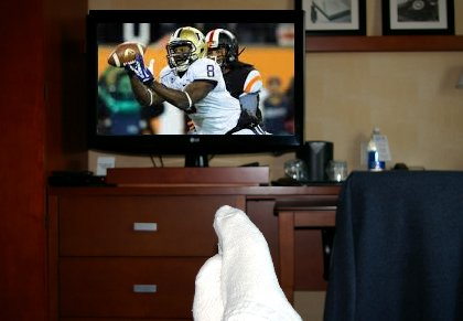 Watching the Huskies defeat Oregon State at the Marriott Courtyard Tacoma in Tacoma, Washington - image.