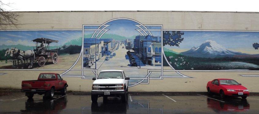 A historical mural in downtown Auburn, Washington.