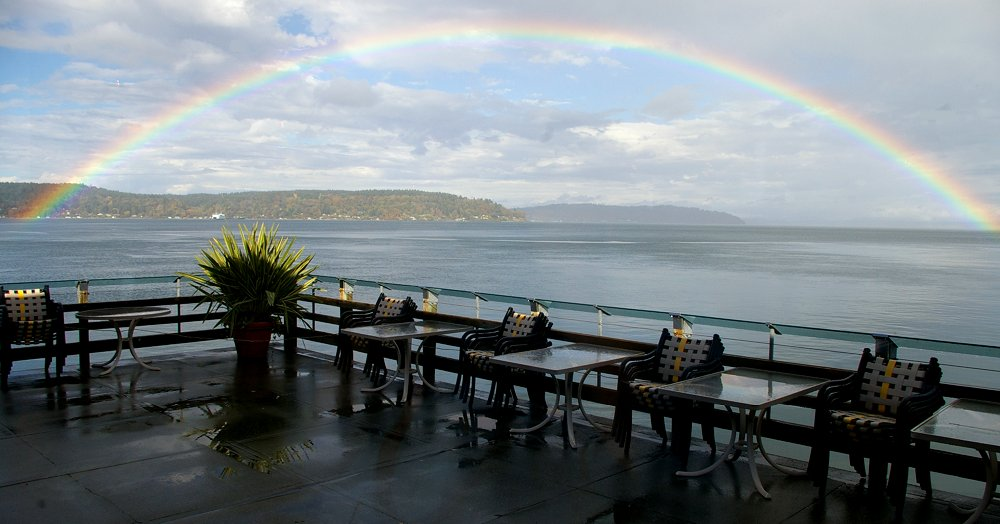 Under the rainbow at Anthony's Homeport At Point Defiance in Tacoma - image.