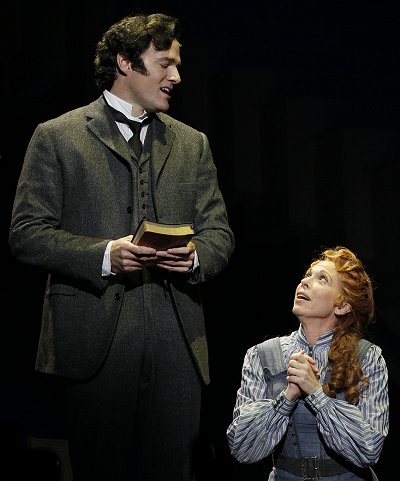 Robert Semple (Ed Watts) and Aimee Semple McPherson (Carolee Carmello) in Saving Aimee at The 5th Avenue Theatre. Photo: Chris Bennion.