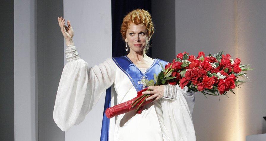 Aimee Semple McPherson (Carolee Carmello) in Saving Aimee at The 5th Avenue Theatre. Photo: Chris Bennion.