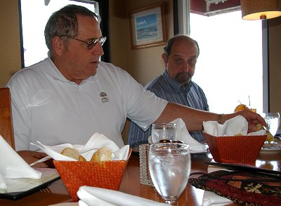 Rob and Donn dine on bread and olive oil mixed with balsamic vinegar at the Dash Point Lobster Shop.