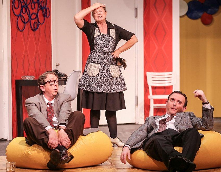 Robert (Robert Alan Barnett), Berthe (Brynne Garman), Bernard (Greg Lucas) in Boeing Boeing at Tacoma Little Theatre - Photo courtesy Dennis K Photography - image.