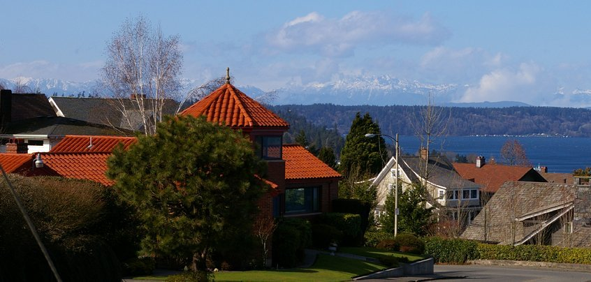 Puget Sound and view of the Olympic Mountains from Tacoma, Washington.