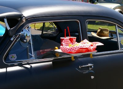 A black 1951 Ford at Walt's Family Car Show at Dacca Park in Fife.