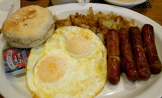 Sausage and eggs at Be's Restaurant West Seattle - image.