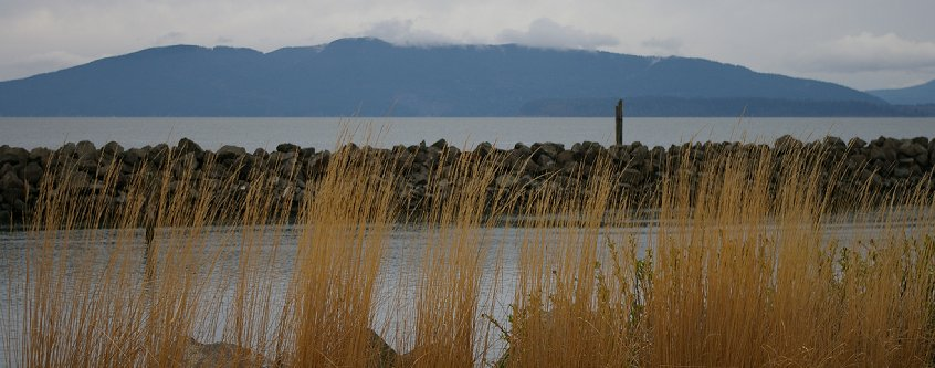 The view from downtown Bellingham, Washington looking out on Portage Island and Lummi Island.