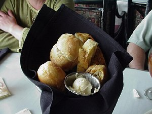 Artistic arrangement of bread for presentation at Salty's.
