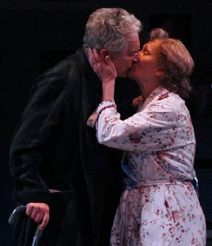 Kurt Beattie and Marianne Owen shared a kiss in Assisted Living at Seattle's ACT Theatre.