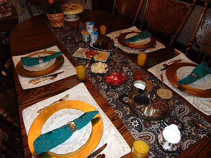 Breakfast table set up at Mildreds B&B on Capitol Hill in Seattle Washington - image.