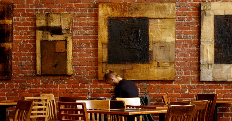 A patron sitting in the Zeitgeist Coffee house in downtown Seattle.