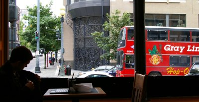 The view out the window at the Zeitgeist Coffee house in Seattle.