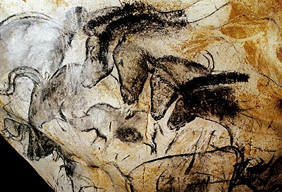 Horse art from Chauvet Cave in France.