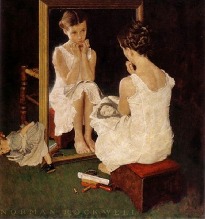 Mirror - Painting by Norman Rockwell.