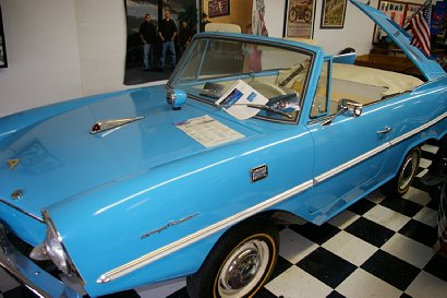 An amphiCar at the Vintage Antique Motorcycle Museum in Chehalis, Washington.