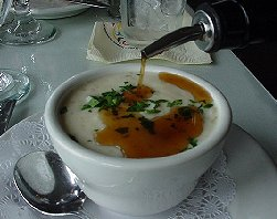 Clam Chowder with sherry.