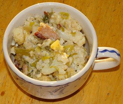 Leeks and cauliflower casserole.