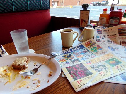 Breakfast at Cattins Family Style Restaurant in Puyallup, Washington.