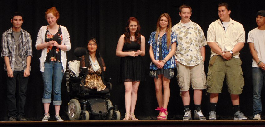 Performers from the Puyallup High School Talent Show in Puyallup, Washington.