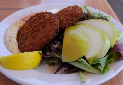 Crab cake appetizer in Steilacoom, Washington.