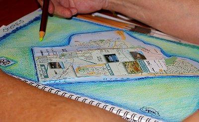 Jan Erb and her sketchbook collage - Ocean Shores Washington Adventure.