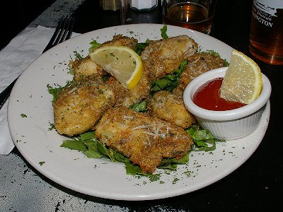 The fried oyster appetizer from Galway Bay - Ocean Shores Washington Adventure.