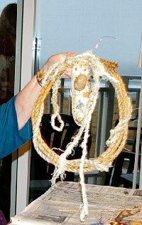 A rope and beach debris wreath by Peg Doman - Ocean Shores Washington Adventure.