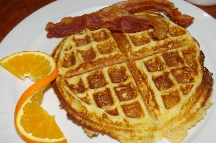 Cornmeal Waffle and bacon from the Chanterelle Restaurant in Edmonds, Washington - image.