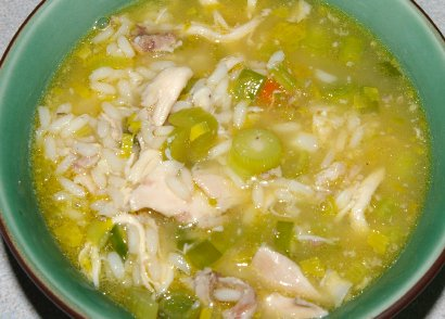 Cockaleeky soup made from leeks purchased in Edmonds, Washington.