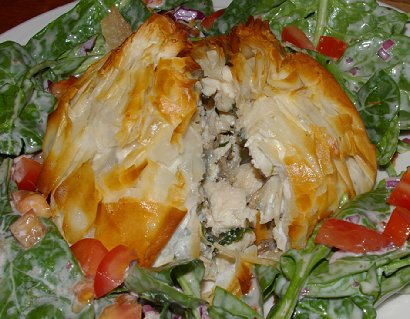 The chicken and goat cheese pastry from the Chanterelle in Edmonds, Washington.