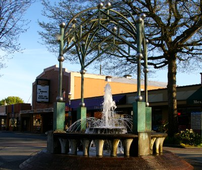 The fountain at the round-about in Edmonds, Washington.