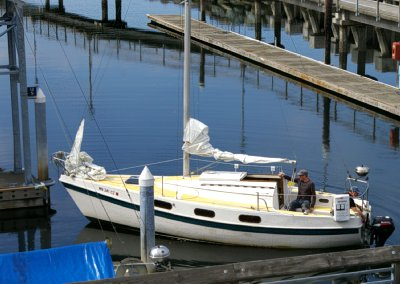 A sailboat ready to leave the marina in Edmonds, Washington.