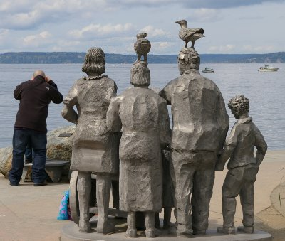 The back of Seeing Whales by Richard Beyer in Edmonds, Washington.