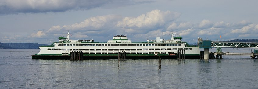 The Kingston Ferry just arriving at Edmonds, Washington.