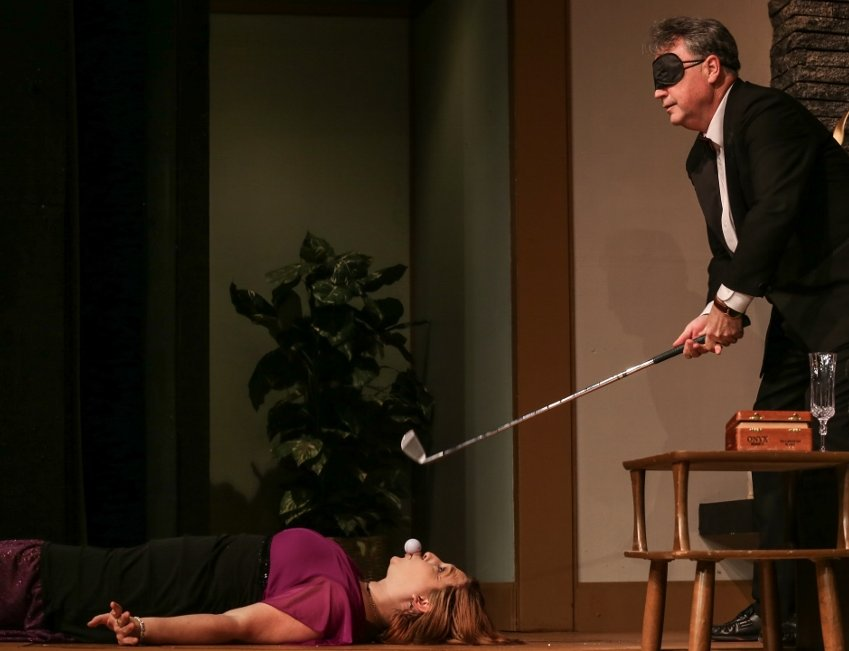 Stacia Russell as Pamela and Andrew Fry as Henry - Tacoma Little Theatre - Fox On The Fairway - image.