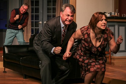 George McClure as Dickie, Andrew Fry as Henry, and Stacia Russell as Pamela in The Fox on the Fairway at Tacoma Little Theatre - image.