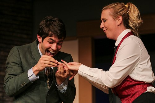 Tracy Torwick as Louise and Rodman Bolek as Justin in The Fox on the Fairway at Tacoma Little Theatre - image.