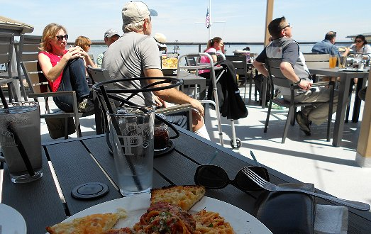 The deck and view at Farrelli Pizza at Point Ruston - image.