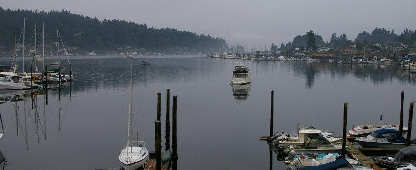 Facing east from the Devoted Kiss Cafe in Gig Harbor, Washington.
