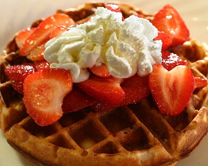 Waffles from the Devoted Kiss Cafe in Gig Harbor, Washington.