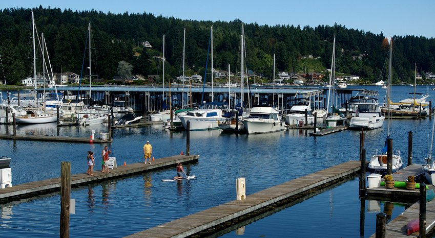 The view from inside the MarketPlace Grille in Gig Harbor, Washington WA.