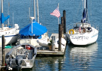 Jeff Wilbert's boat Zaftig moored in Gig Harbor, Washington - image.