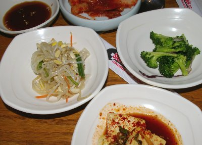 Condiments at The Honey Pig Korean BBQ Tacoma, Washington.