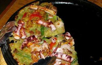 Seafood pancake at The Honey Pig Korean BBQ Tacoma, Washington.