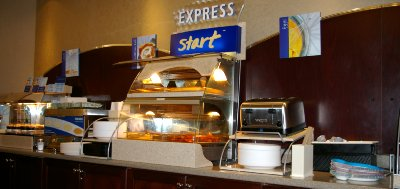 The continental breakfast at the Holiday Inn Express in Puyallup, Washington.