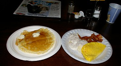 Breakfast at the Holiday Inn Express in Puyallup, Washington.