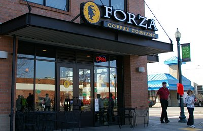 The Forza coffee shop by Pioneer Park in Puyallup, Washington.